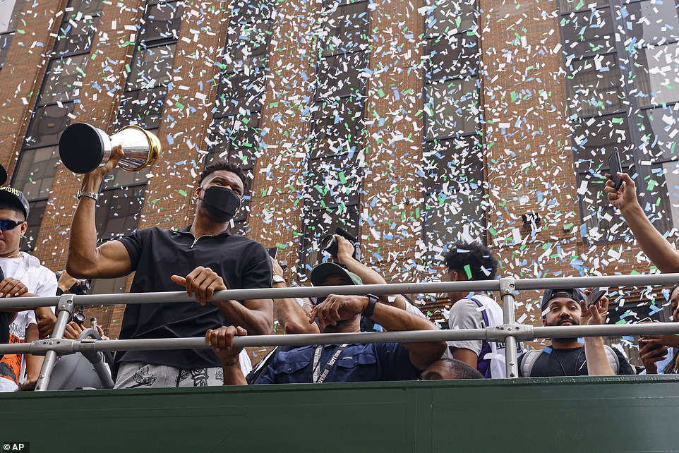 Huge crowd of Fans join the Milwaukee Bucks championship parade